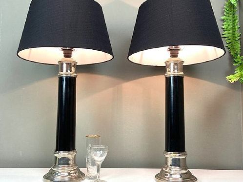 Mid Century Empire Style Column Table Lamps, 1950's, Set Of 2