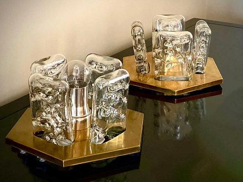 Mid-Century Brass and Murano Glass Flush Mount by Doria Leuchten