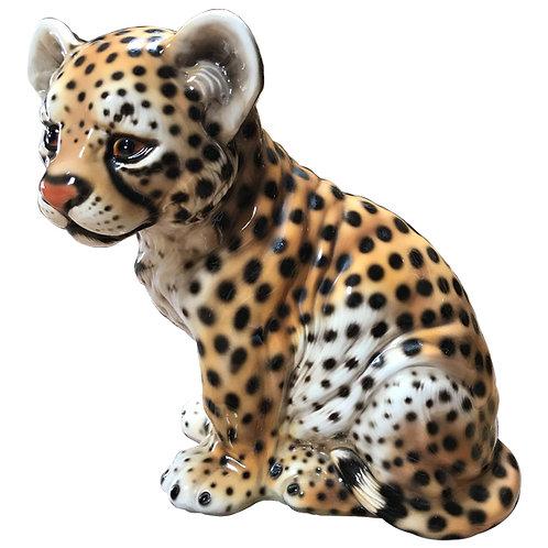 Large vintage Italian ceramic cheetah cub 1