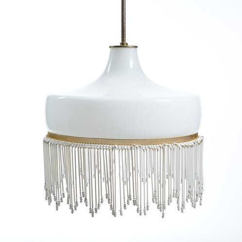 Beautiful all white opaline glass ceiling light with brass details