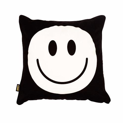 Happy Faces Cushion White Black Big 1