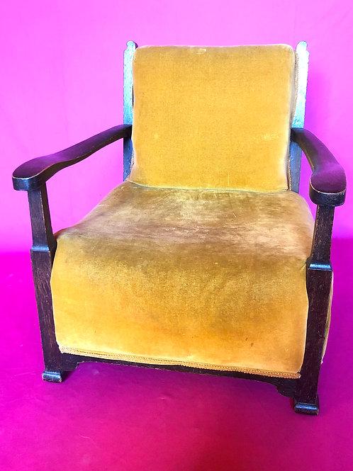 Antique diminutive orange velvet upholstered sprung nursing chair