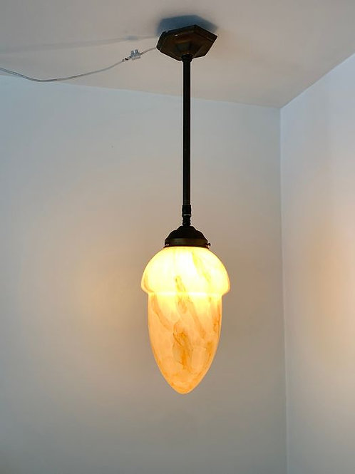 Art Deco hall, conservatory, bar lamp, mouth-blown opaline marbled glass