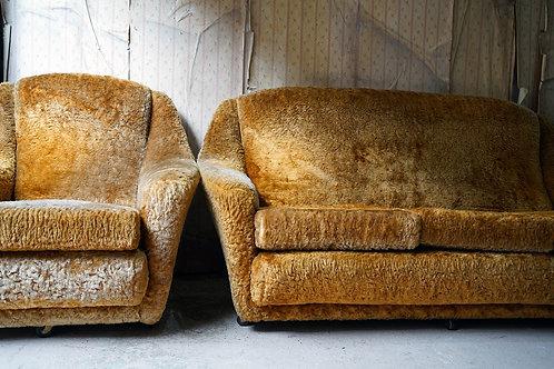 Mid 20thc Tangerine Orange Shag Pile Upholstered Three Piece Suite C.1960
