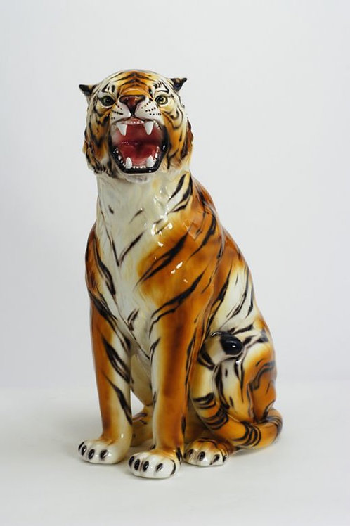"""""""Faience"""" Ceramic tiger, hand-decorated."""