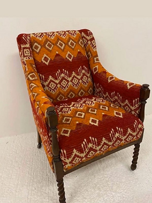 Occasional Armchair with a Vibrant Kilim Fabric
