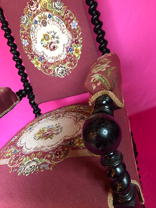 Antique Napoleon III Walnut Barley Twist Armchair