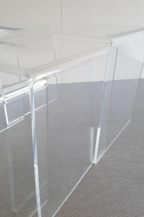 Vintage Plexiglas Side Tables, 1970's, in the style of Charles Hollis Jones.
