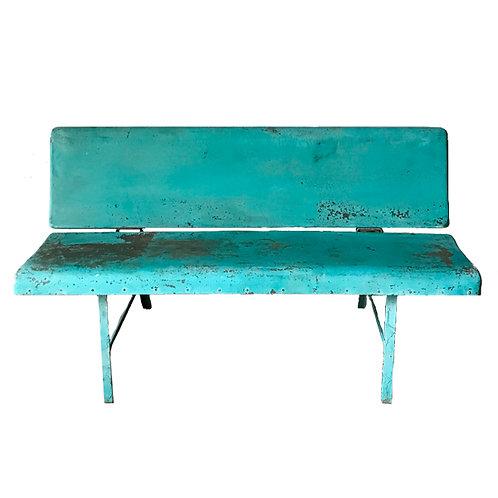 Vintage Blue Painted Metal Bench 1