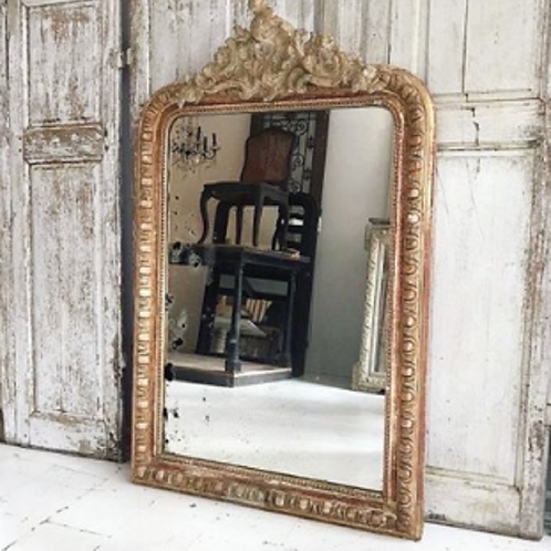 Stunning 19th Century French Gilt Crested Louis Philippe mirror