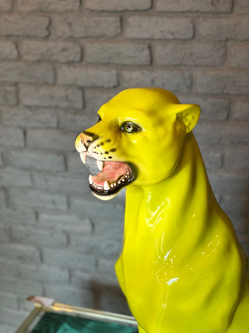 """Faience"" Ceramic leopard, hand-decorated Lime green"