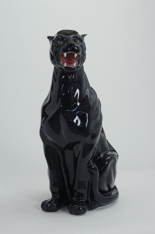 Outstanding Italian Hand Decorated Ceramic Black Panther