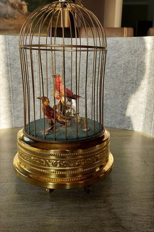 Early 20th Century Mechanical Wind Up French Singing Bird Cage Automaton