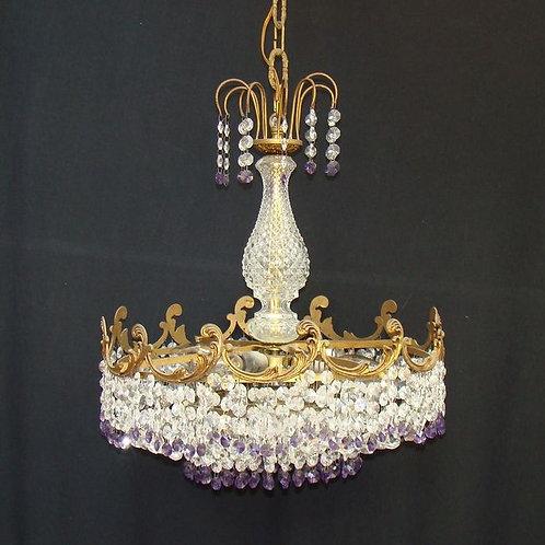 Belgian, Emperor Style Crowned Chandelier.  Bronze (gilt) and Crystal
