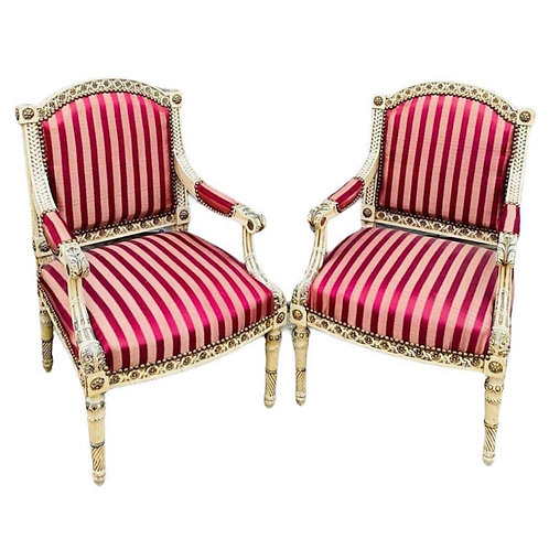 19th century pair of french upholstered armchairs
