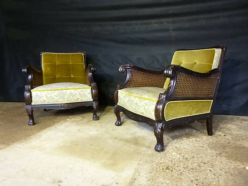 1940's Pair of Danish Carved Mahogany Lounge Chairs With Bergere Sides