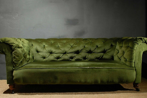 Antique Victorian Green Velvet Chesterfield Sofa