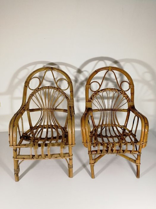 Pair of original 60s Italian Rattan Chairs