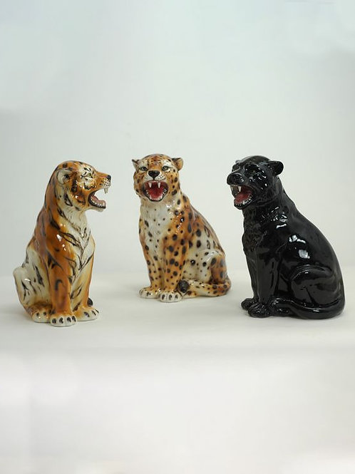 Outstanding Italian Hand Decorated Ceramic Young Cheetah