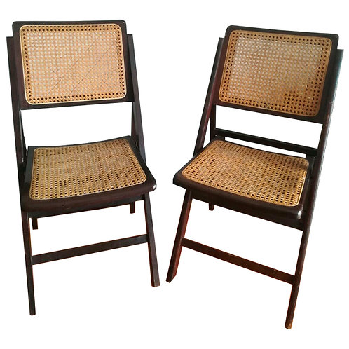 Stylish practical pair Rattan seated folding chairs 1