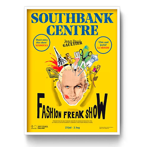 Jean Paul Gaultier London Underground Poster Freak Show Yellow 1