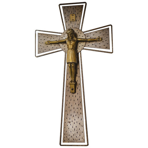 Vintage French Wood Cross Bronze Effect Metal Christ