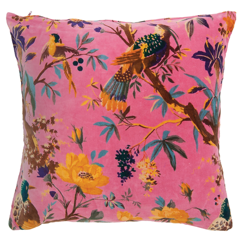 Coral Bird Of Paradise Cotton Velvet Cushion 1