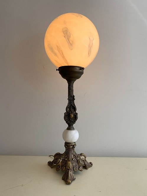 Italian antique table lamp with beautifully crafted base and marbled glass ball