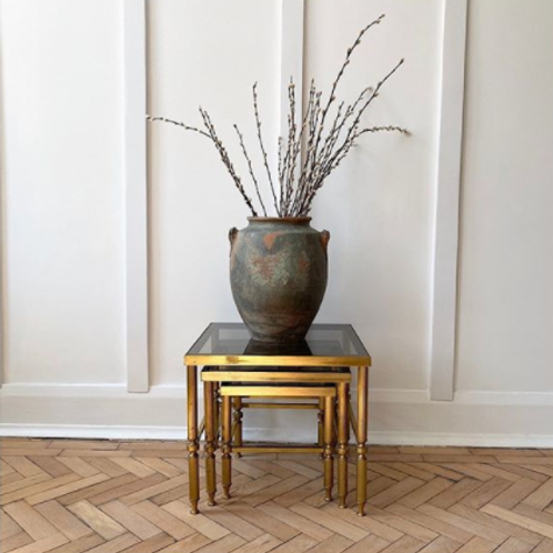 French Hollywood Regency Neoclassical 1950s Brass Glass Nest of Tables