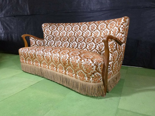 Danish three seater sofa with stained beech show frame and fringe gold flock vel