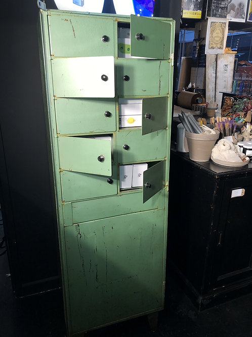 Vintage Industrial Bank Of 10 Compartment Lockers