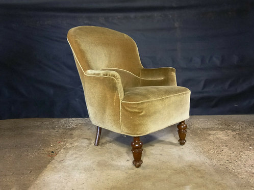 1950's Danish Gold Velour Lounge Chair Vintage Retro