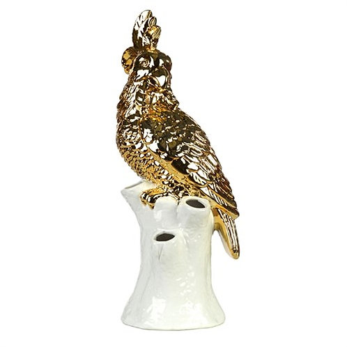Vase Cockatoo Gold White Base 1