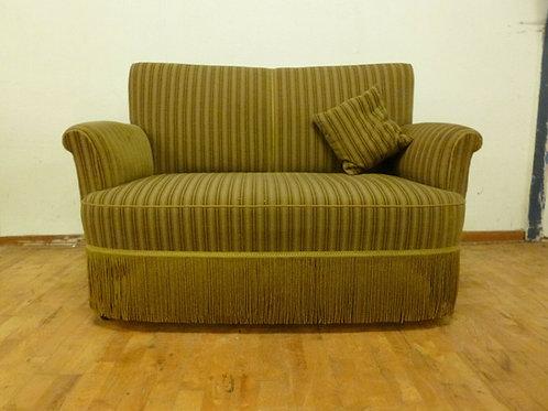 1950's Danish Two-Seater Sofa Green Velour Retro Vintage Twentieth Century