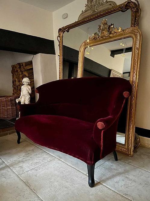 Antique Napoleon III Deep red velvet Salon Sofa