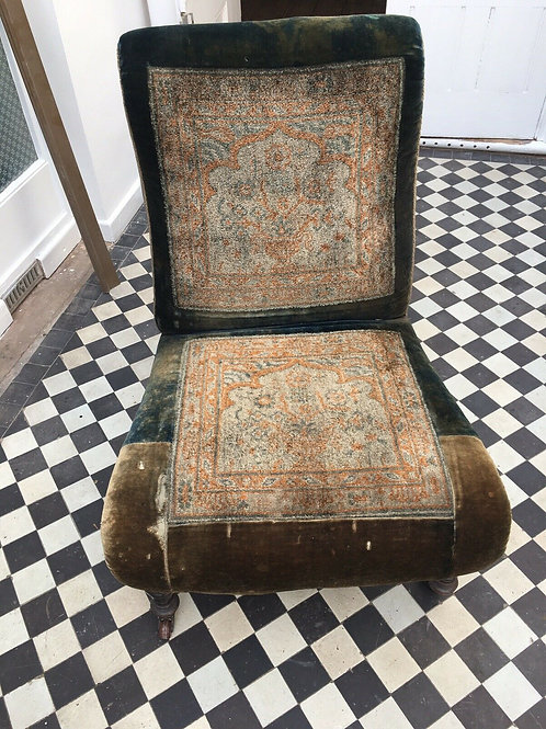 Antique Victorian Persian Rug Carpet Chair Ebonised Legs with castors