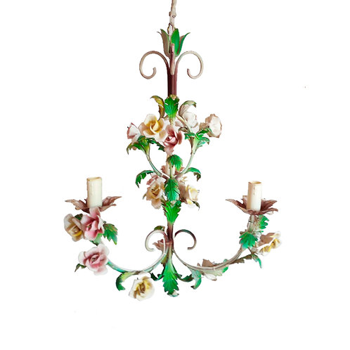 Wonderful wrought iron chandelier with ceramic shoots