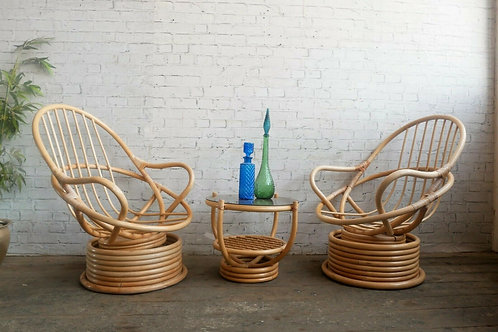 Vintage Bamboo Rocking Swivel Armchairs / Table
