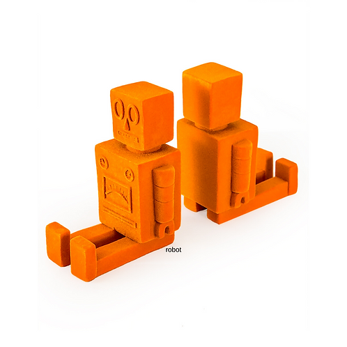 Orange Flock Robot Bookends Pair