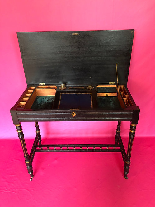 Victorian ebonised and gilt highlighted lady's writing desk