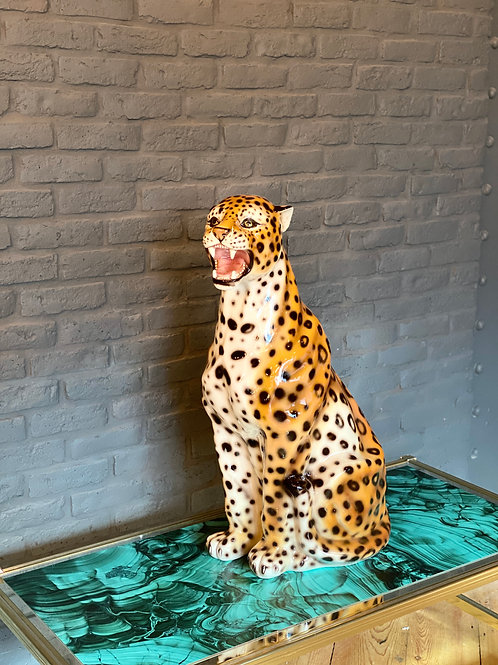 """Faience"" Ceramic leopard, hand-decorated."