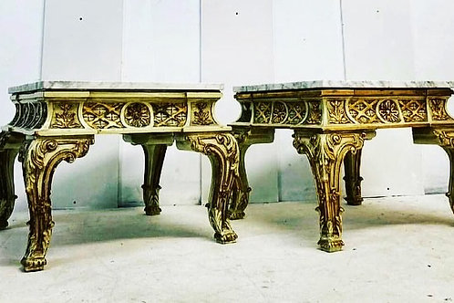 French Marble Topped Gilt Side Tables