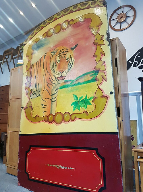 Hand Painted 1960's Fairground Tiger Rounder Board.