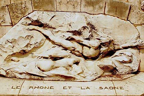 statue-monument Rhône et Saône place des Cordeliers Lyon