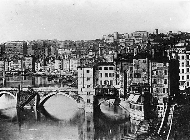 L'ancien pont du Change sur la Saône au début du XIXe siècle