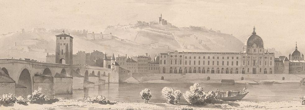Le pont de la Guillotière et le Grand hôtel Dieu de Lyon en 1768 (Lavis d'encre de Chine de Jean-Jacques de Boissieu)