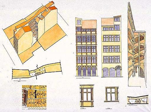 Plan de la traboule du 27 rue Saint-Jean, 6 rue des Trois-Maries, Vieux Lyon