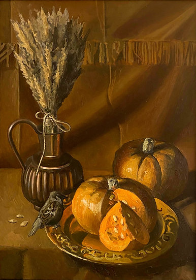 Still Life with Sparrow and Pumpkin by Tatiana Popova