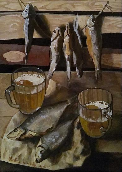 Still Life with Fish and Beer by Tatiana Popova