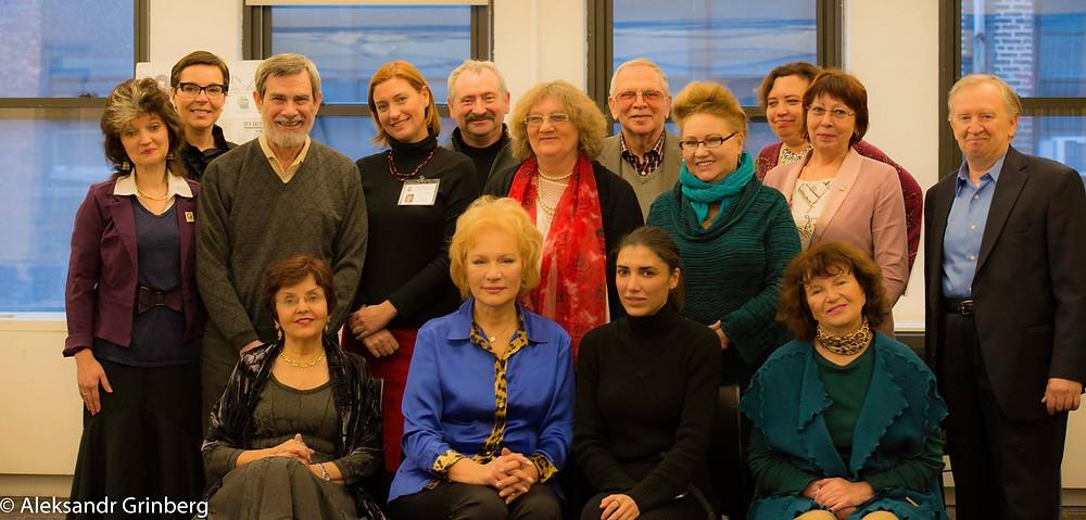 A group photo with the Pushkin Society in America, artists, and writers Tatiana Sheremeteva, Tatiana Ananich, Tatiana Yankovskaya.